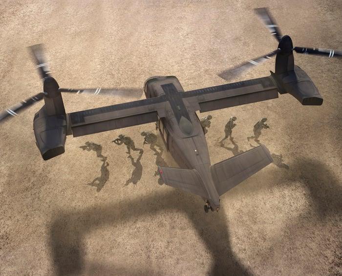 Artist rendering of the Bell V-280 unloading troops.