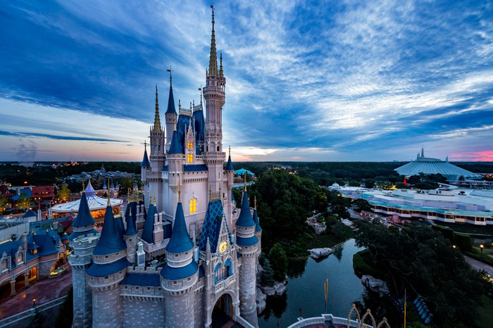 Walt Disney World resort area in the background of the Magic Kingdom.