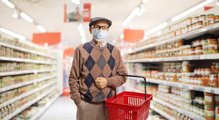 Masked older man holding basket in supermarket aisle