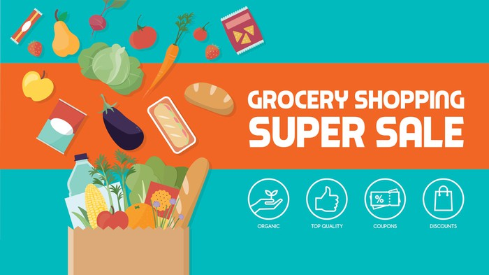A banner reading grocery Shopping super sale