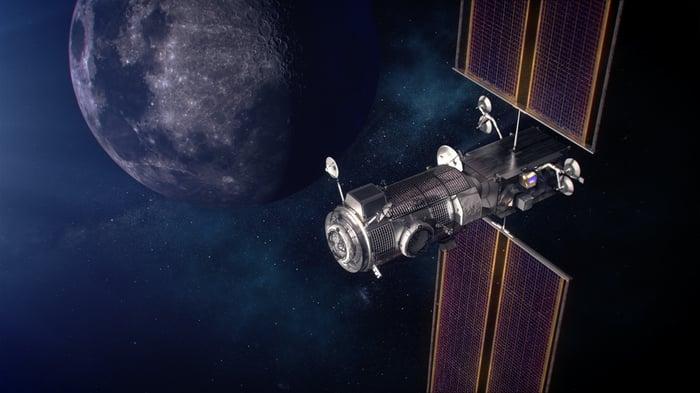 NASA artist's depiction of HALO Lunar Gateway in orbit around the moon.