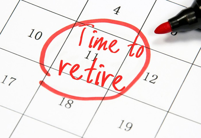 """A closeup of a calendar with a date circled in red with the words """"time to retire"""" written on it."""
