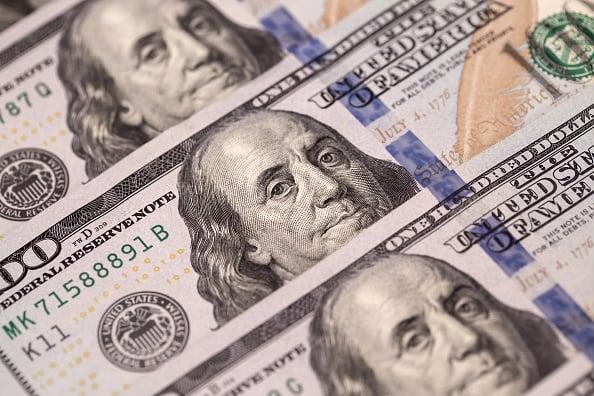 Three layers of 100-dollar bills