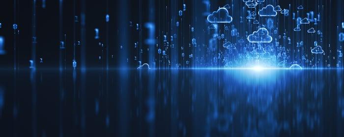 Several clouds in a digital landscape against a dark blue background.