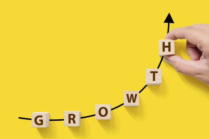 A hand places blocks spelling out the word Growth along a rising trend line.