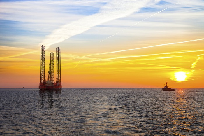 An offshore oil rig on the horizon at sunset.