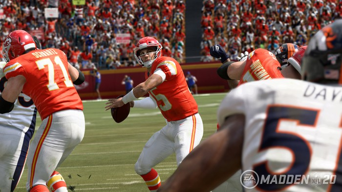 A screenshot from Madden NFL 20 showing a quarterback throwing a football.