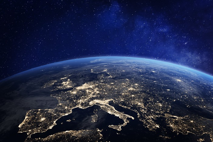 Europe at night, from space.