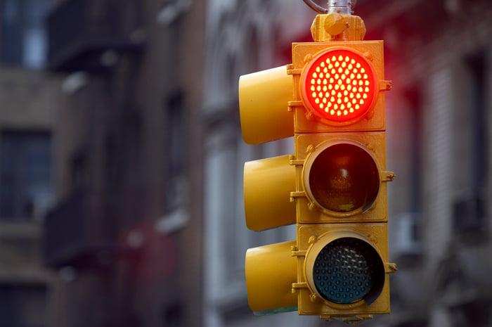 A red traffic light.