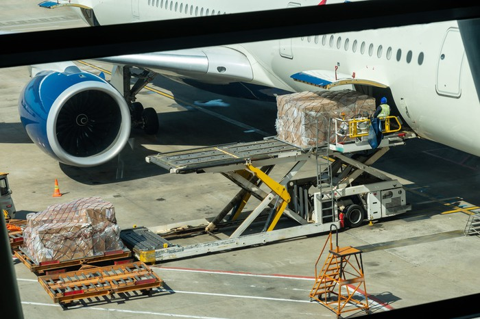 cargo being loaded on jet