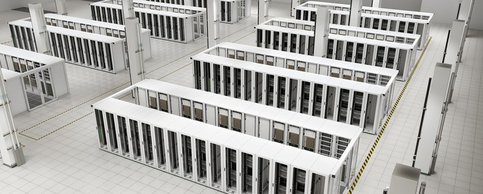 A data center with rows of supercomputers.