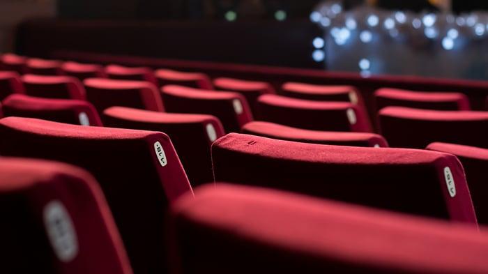 Empty movie theater seats.