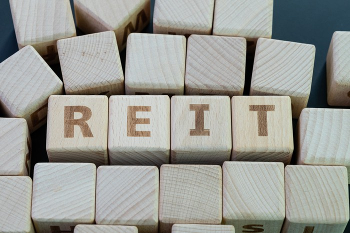 The word REIT spelled out in wooden blocks.