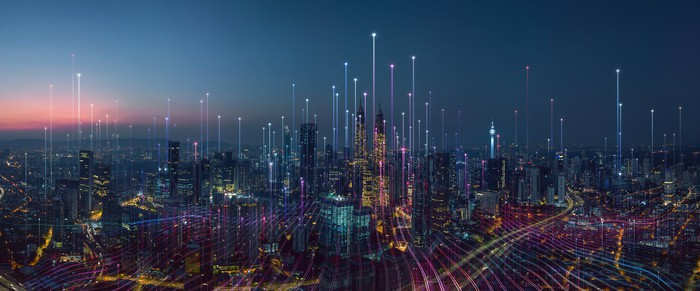 A visualization of networking connections across a city.