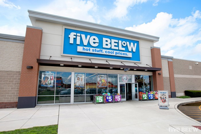 Doors are open at a Five Below location.