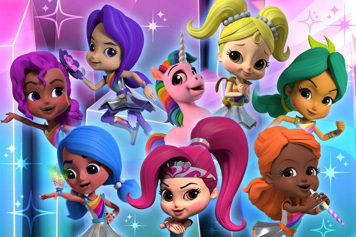 Seven animated people and an animated unicorn against a starry multicolored background.
