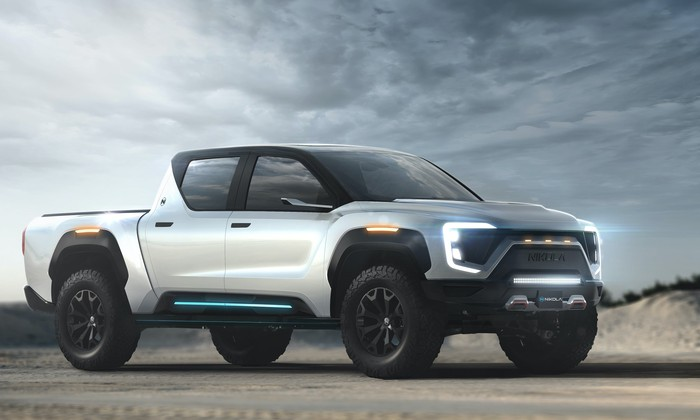 A rendering of a Nikola Badger electric pickup truck.