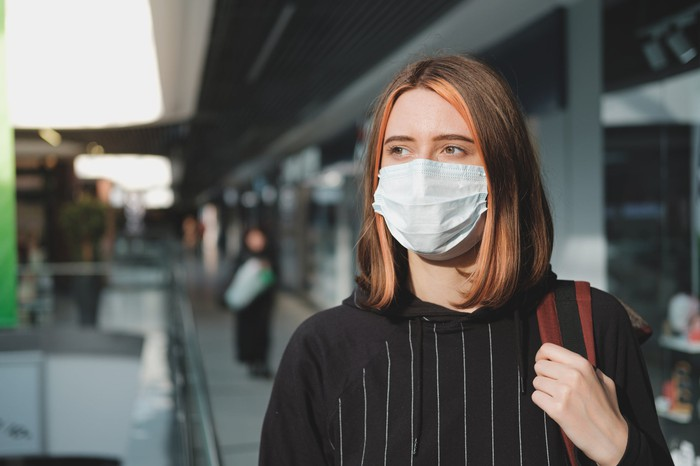 Woman wearing mask in a mall