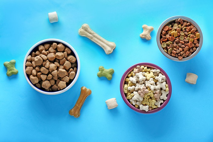 Various types of pet food and treats