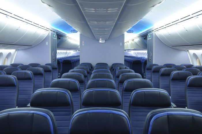 Empty seats in an airplane.