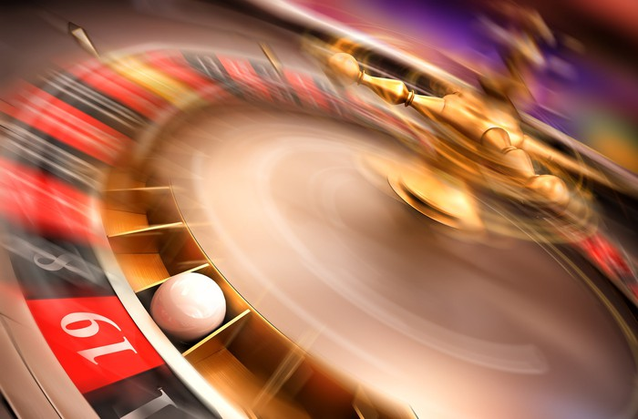 A spinning roulette wheel.