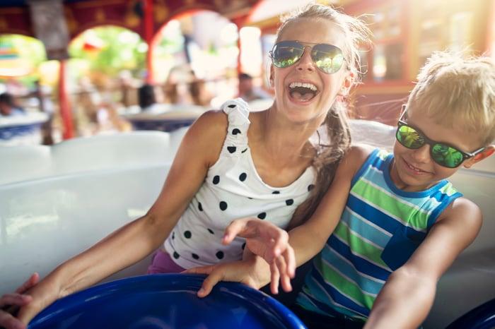 Kids on an amusement park ride.
