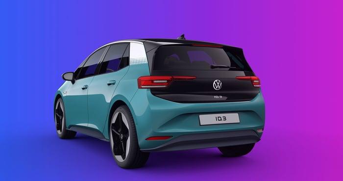 Volkswagen ID.3 hatchback seen from behind