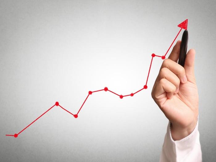 一隻畫出上升趨勢圖的手。