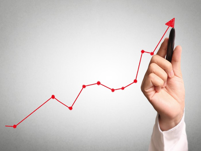 A hand drawing a chart showing an upward trend.