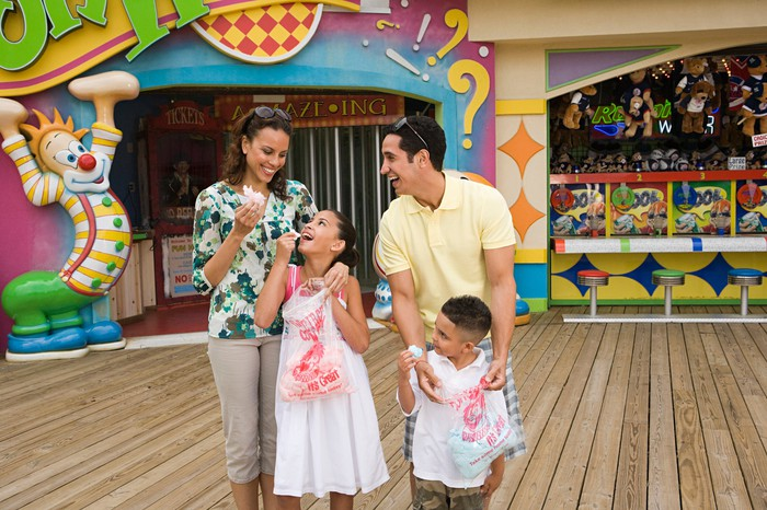Family enjoying a theme park.