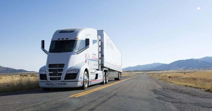 Nikola Corp. electric semi truck driving on highway