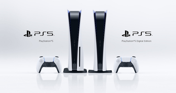 A photo of the two PlayStation 5 variants, PS5 and PS5 Digital Edition.