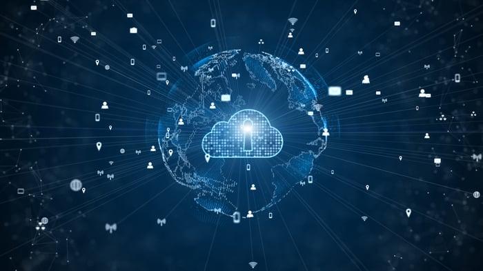 Illustration of a secure digital cloud.