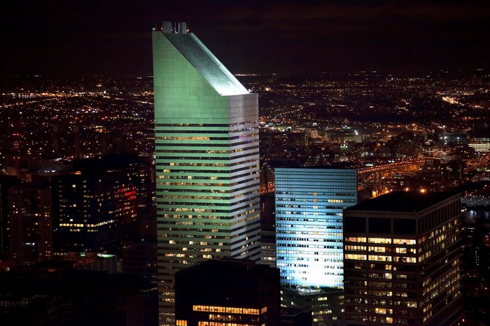 The Citigroup building in New York City at night.
