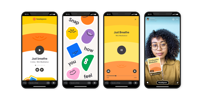 Four smartphones displaying examples of the Headspace mini app interface