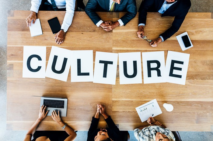 Aerial shot of the word culture printed on one letter per page arranged on a wooden conference table at which six people in business attire sit.