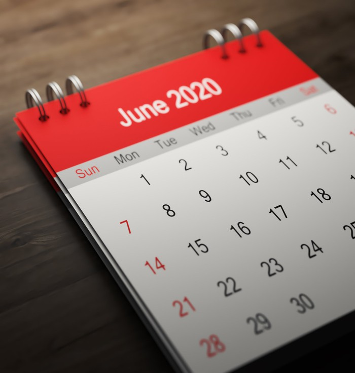 A calendar turned to the month of June.