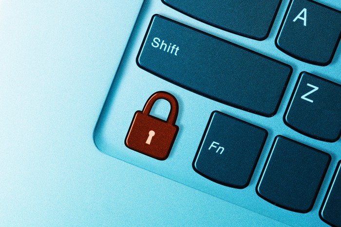 Padlock-shaped button on a laptop keyboard.