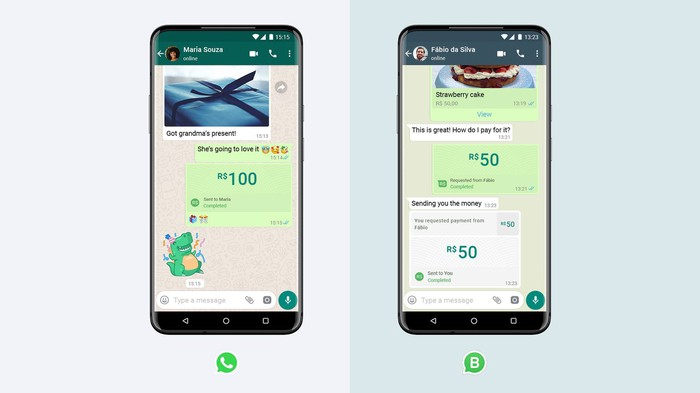 Two smartphones displaying payments interface in WhatsApp