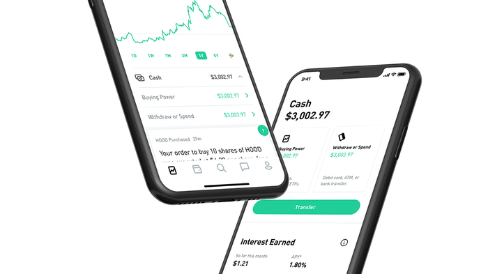 Two smartphones displaying the Robinhood stock trading app.