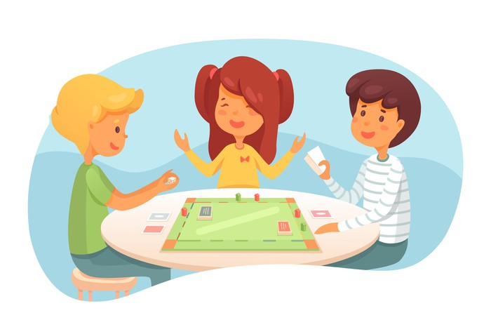 Children playing a board game.
