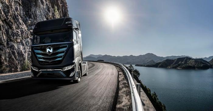 Nikola Tre BEV semi-truck on scenic highway