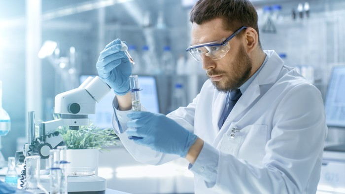 Laboratory Scientist Conducts Experiments by Synthesising Compounds with use of Dropper and Plant in a Test Tube.