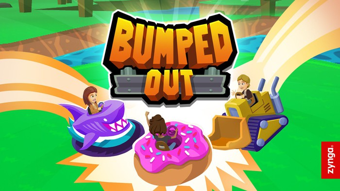 Cover of Zynga's Bumped Out, with cartoon people on bumper cars