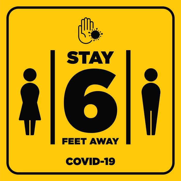 A yellow social distancing sign with 6 Feet in the middle.