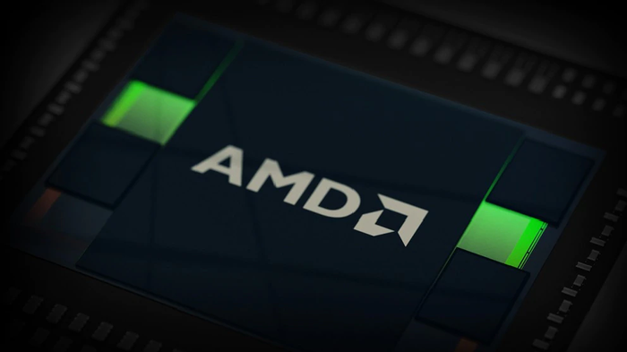 AMD logo on a chip.
