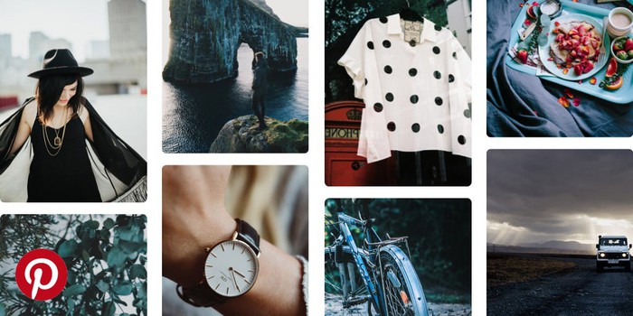 A collage of clothing, food, and travel pictures from Pinterest.