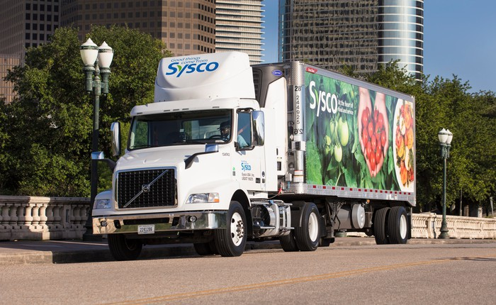 A Sysco delivery truck sits on a roadway in a city with skyscrapers in the background