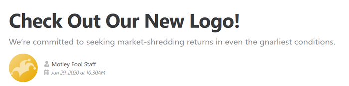 Headline and promo from previous article about The Motley Fool's new logo.