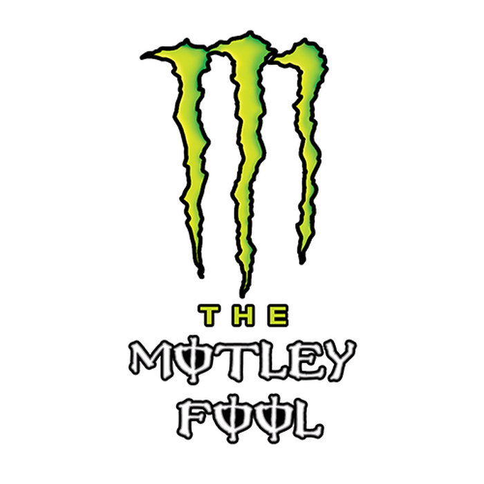 A mashup of the logos of The Motley Fool and Monster Beverage.